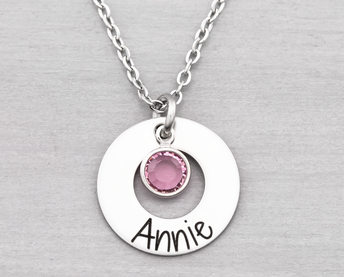 Washer Name Necklace with Birth Stone