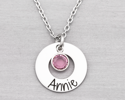 Washer Name Necklace with Birth Stone - Heartfelt Tokens