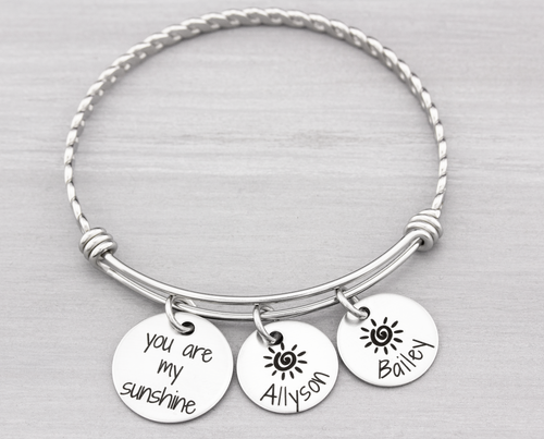 Personalized Bangle Bracelet You Are My Sunshine - Heartfelt Tokens