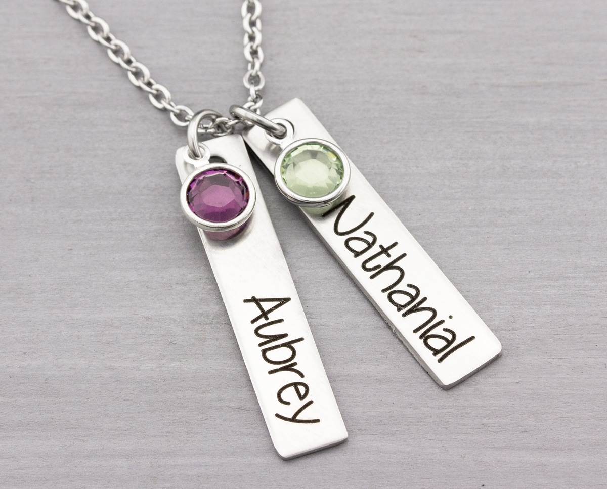 Bar Name Necklace Personalized with Kids Names