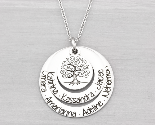 Two Layer Family Tree Necklace with Names