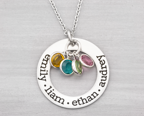 Birthstone Washer Name Necklace