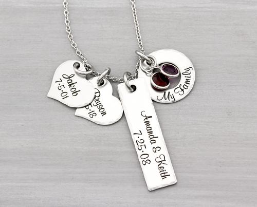 Personalized Family Charm Mothers Necklace