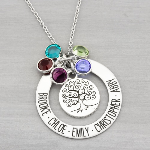 Family Tree Washer Name Necklace