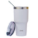 Zee. Tumbler Set - Insulated Container for Water, Coffee, Tea, Hot & Cold Beverages - With Straw, Cleaning Brush - Non-Slip, Anti-Splash, Sweat-Proof, Portable Lidded Drinkware