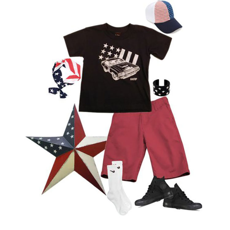 Boys Patriotic Outfit Compilation featuring a Muscle Car Tee