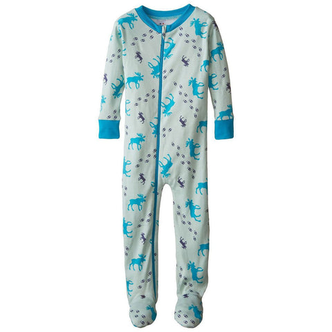 Baby Boys Organic Cotton Moose Tracks  Footed PJs by New Jammies - The Boy's Store