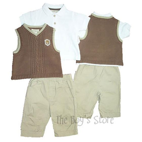 Baby Boys Vest Polo Pant Set by Minibasix