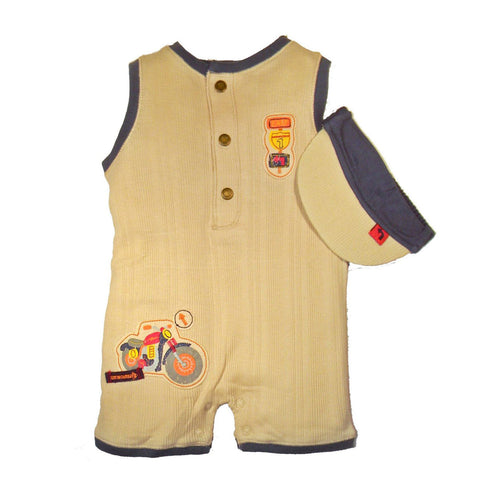 Baby Boys' Motorcycle Romper and Visor Set by Minibasix