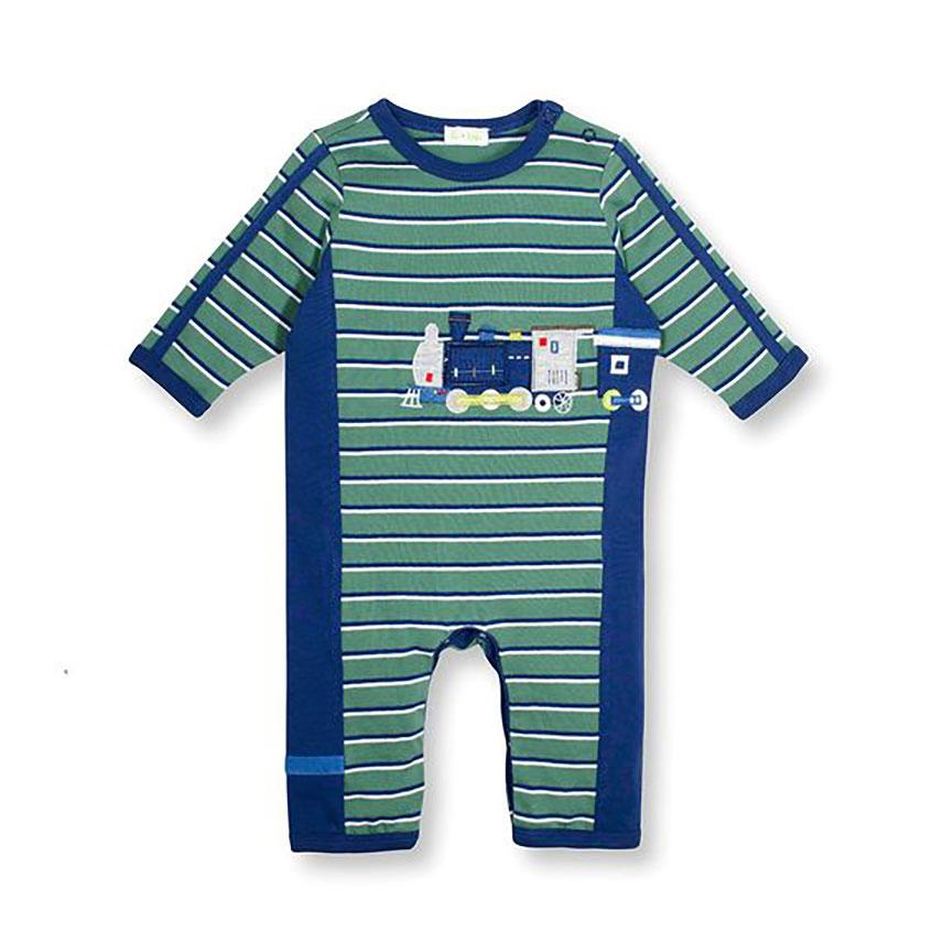 Baby Boys On Track Train Coverall by le top - The Boy's Store