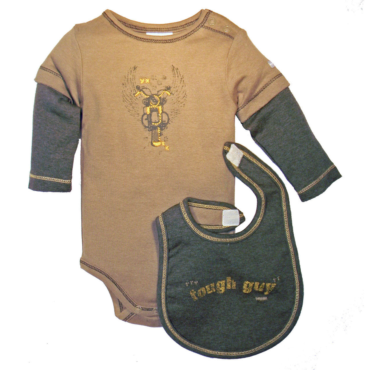 Boys' Tough Guy One Piece and Bib Set by Dressed to Drool