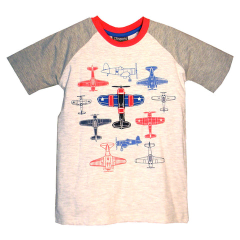 Boys' Airplane Raglan Shirt by CR Sports