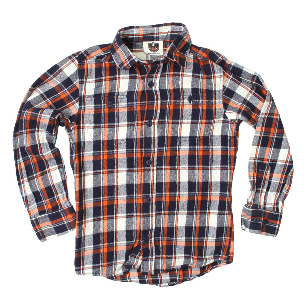 Boys Plaid Flannel Button Up Shirt by Wes and Willy