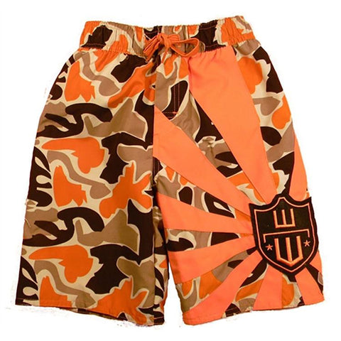 Boys Camo Logo Swim Trunks by Wes and Willy
