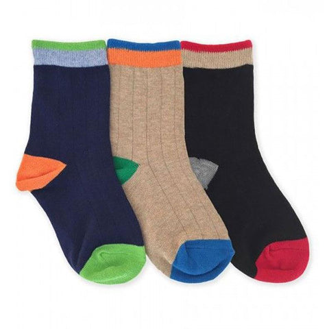Boys Color Block Crew Socks by Jefferies Socks