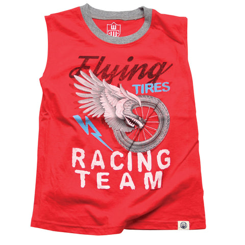 Boys Flying Tires Muscle Tee by Wes and Willy