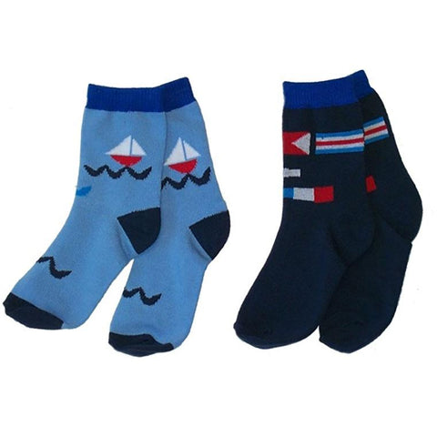Little Boys' Nautical Crew Socks 2-Pack by NowaLi