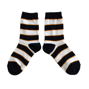 Boys Navy and Orange Striped Crew Socks by Jefferies Socks