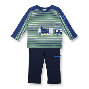 Toddler Boys On Track Train Pant and Shirt Set by le top - The Boy's Store
