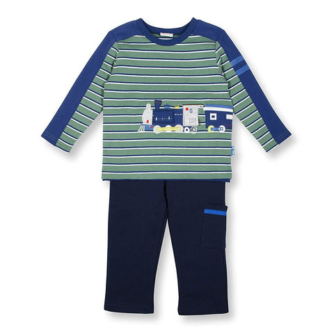 Toddler Boys On Track Train Pant and Shirt Set by le top