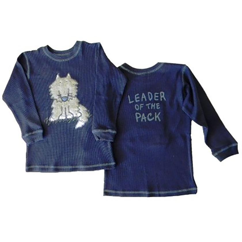Little Boys Leader of the Pack Waffle Weave Shirt by Mulberribush