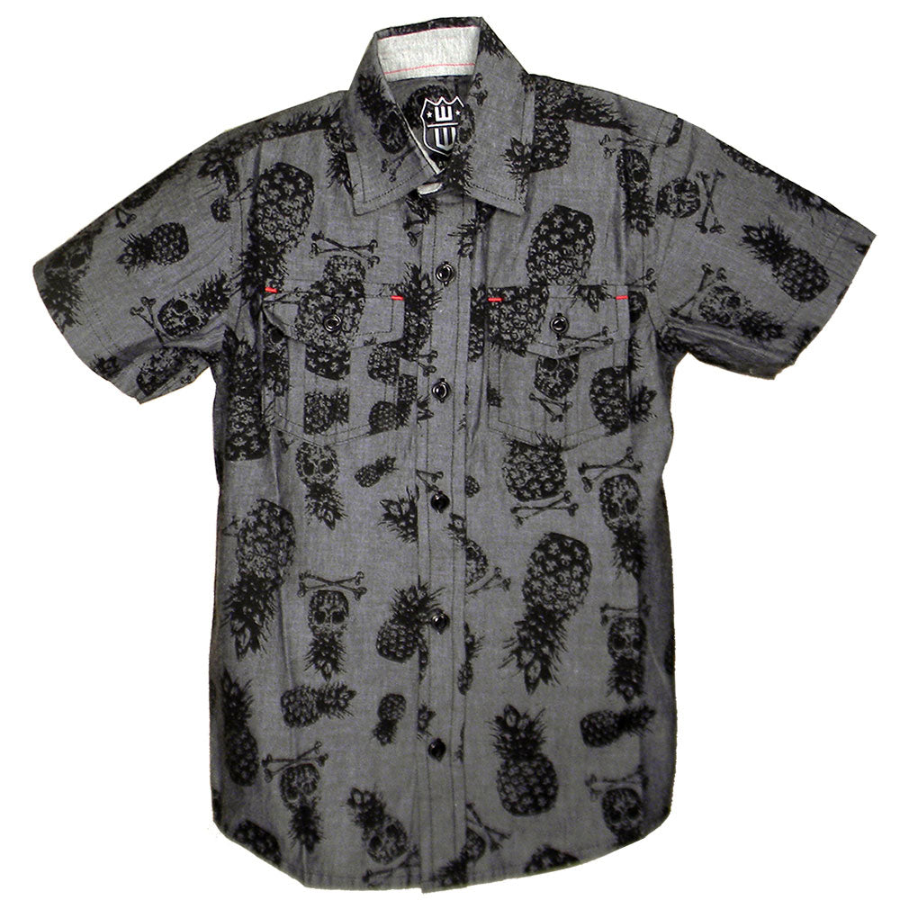 Boys' Pineapple Skull Button Up Shirt by Wes and Willy