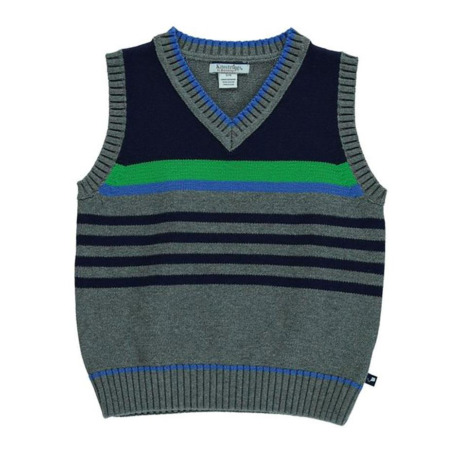 Boys' Blue and Green Striped Cotton Sweater Vest by Kitestrings - The Boy's Store