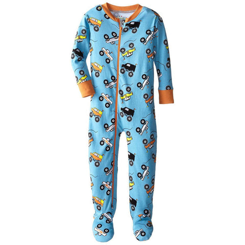 Baby Boys Monster Trucks Organic Footed PJs by New Jammies