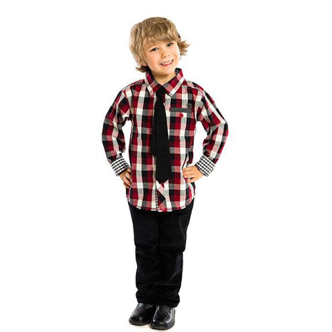 Boys Plaid Shirt with Tie by Noruk