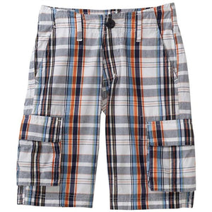 Boys Plaid Cargo Shorts by Wes and Willy