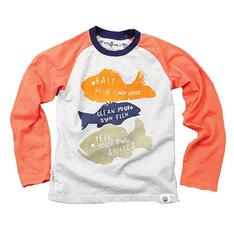 Boys Fishing Raglan Shirt by Wes and Willy