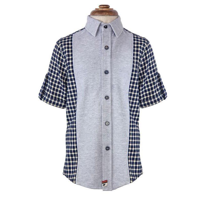 Boys' Mixed Media Button up Shirt by La Miniatura