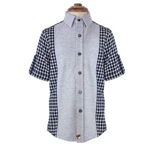 Boys' Mixed Media Button up Shirt by La Miniatura - The Boy's Store