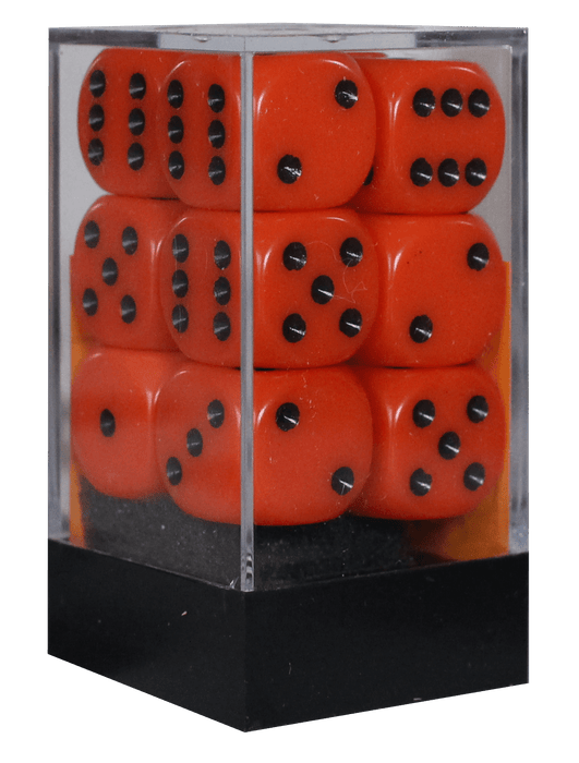 Opaque 16mm D6 orange m/sort terninger (25603) (Chessex)