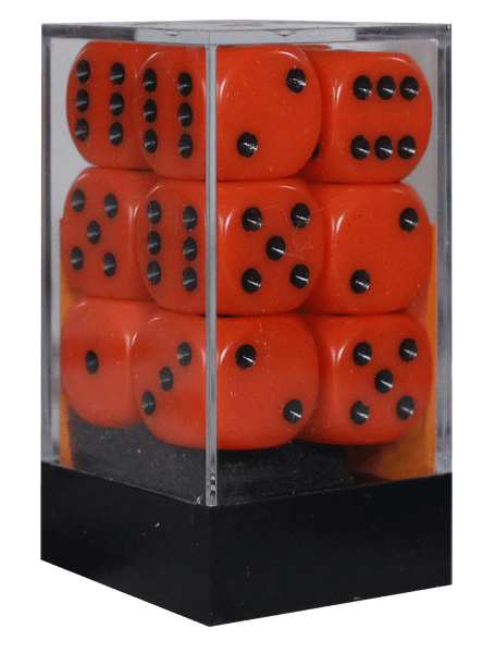 Opaque 16mm D6 orange m/sort terninger