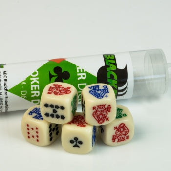 16mm Poker Dice Set (5 Dice) - Blackfire