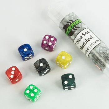 16mm marbled D6 in Tube (7 Dice) - Blackfire