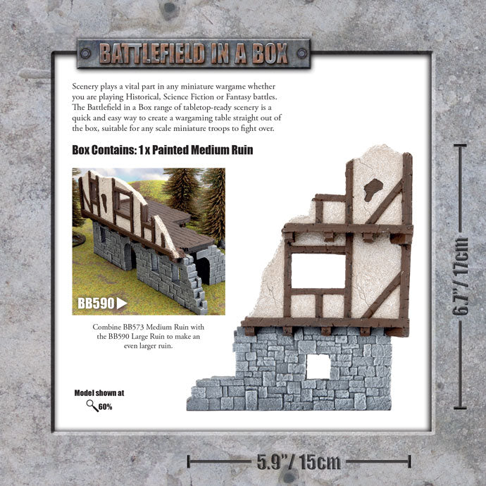 Battlefield in a Box: Wartorn Village - Medium Ruin - 30mm (BB573)