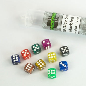 12mm marbled D6 in Tube (10 Dice) - Blackfire