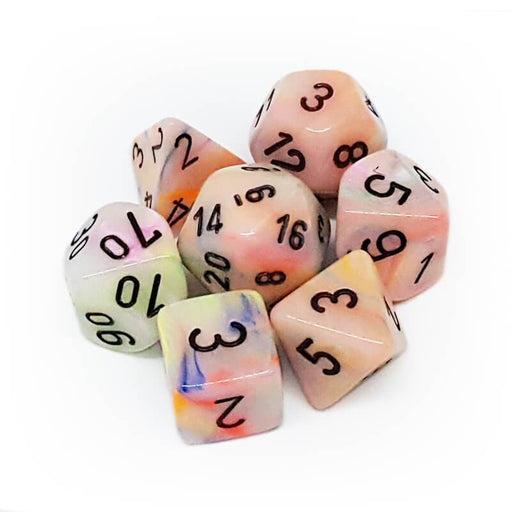 Festive Polyhedral Circus/black 7-Die Set (Chessex) (27442)