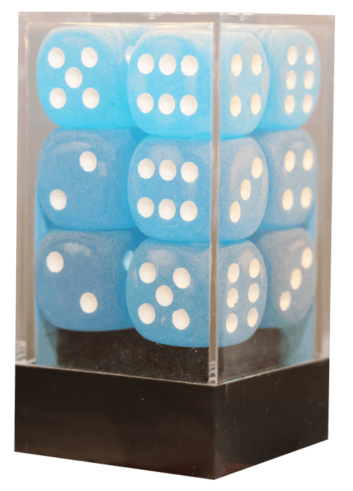 Frosted 16mm D6 Caribbean blå m/hvid terninger (Chessex) (27616)