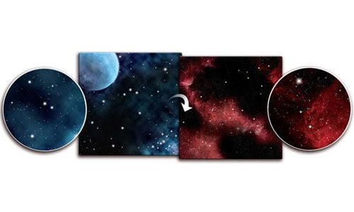 "Gaming Mat - Frozen Planet / Crimson Gas Cloud (36""x36"")"
