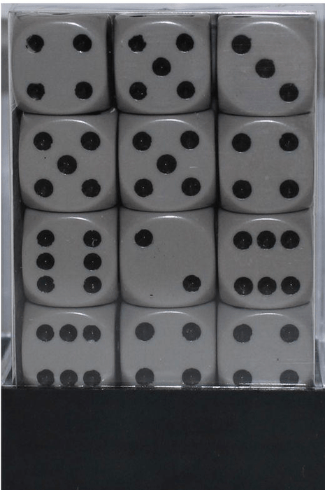 Opaque 12mm D6 grå m/sort terninger (25810) (Chessex)