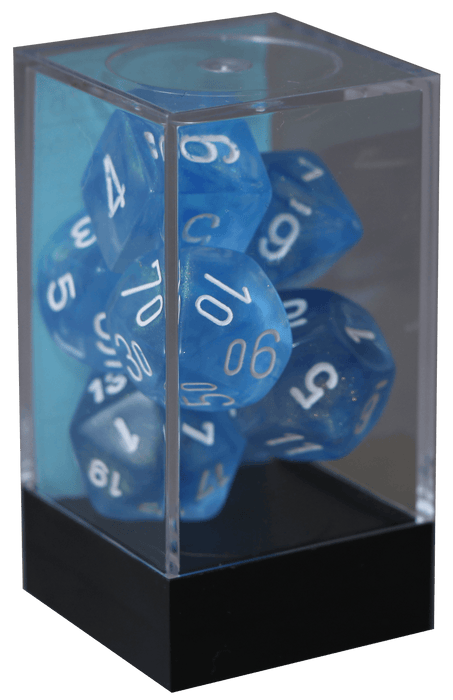 Borealis - Sky Blue/white - Polyhedral 7-Die Set (27426) - Chessex