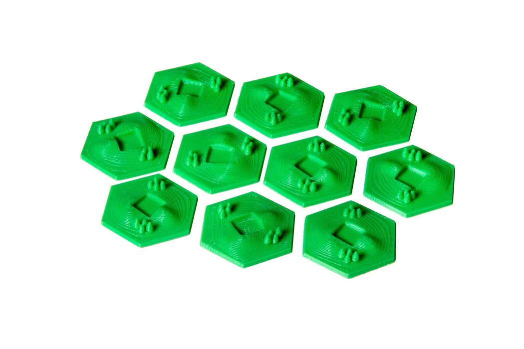 3D Greenery Hex Tiles (Broken Token)(TOK013)