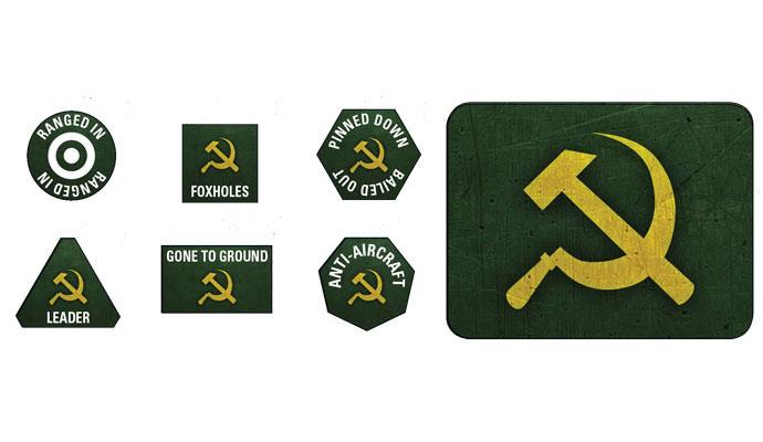 Flames of War: Soviet LW Tokens (x20) & Objectives (x2) (SU903)