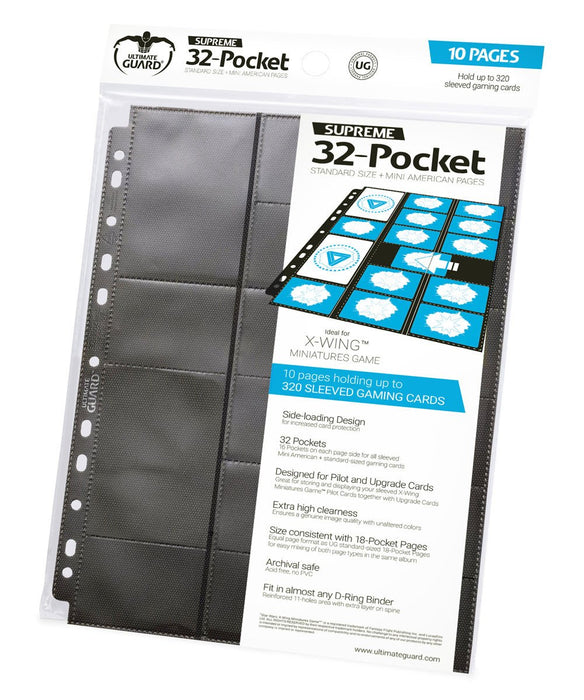 Ultimate Guard 32-Pocket Pages Standard Size & Mini American Black (10)