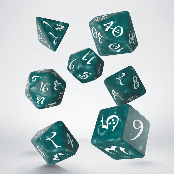 Classic RPG Stormy & white Dice Set (7) - Q Workshop