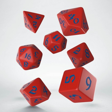 Classic Runic Red & blue Dice Set (7) (Q-Workshop) (SCLR2A)