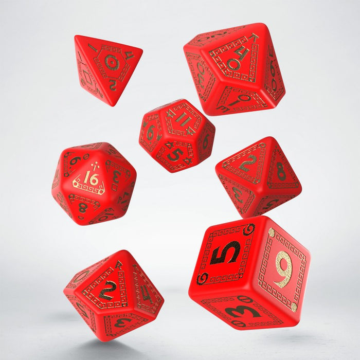 RuneQuest Red & gold Dice Set (7) (Q-Workshop) (SRQU53)